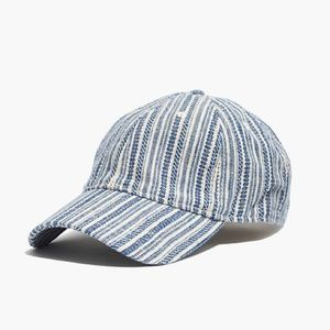 Madewell texture stripe baseball cap blue cream